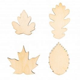 Rico Design Wooden Hanging Leaves 100mm x 58mm – 65mm x 68mm Natural Pk 4