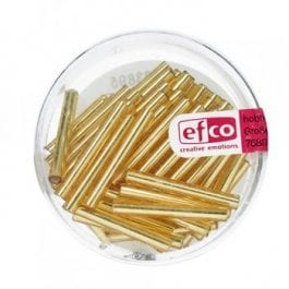 Efco Bugle Beads 2mm x 20mm Silver-Lined Gold – Tube 10g