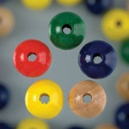 Efco Wooden Beads 3mm x 12mm Assorted Colours Pk 30