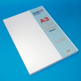 Craft UK Hammered Card A3 300gsm White Pk 50