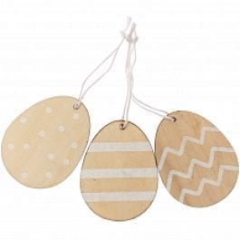 Rico Design Wooden Hanging Eggs Flat 45.5mm x 60mm Natural/White Pk 3