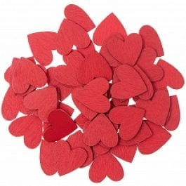 Rico Design Wooden Hearts Flat 20mm x 20mm Red Pk 48