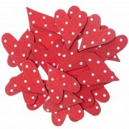 Rico Design Wooden Hearts Flat 25mm x 30mm Red/White Spot Pk 24