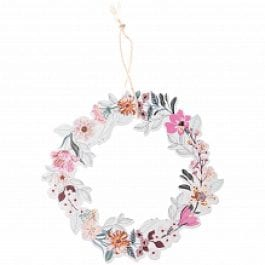 Rico Design Wooden Hanging Floral Flat Wreath 100mm x 100mm Pink/Green