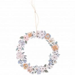 Rico Design Wooden Hanging Floral Flat Wreath 100mm x 100mm Pastel