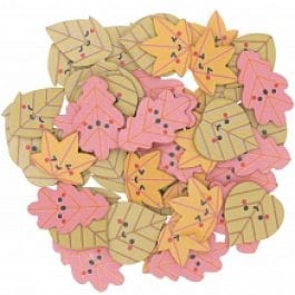 Rico Design Wooden Leaves Flat 17mm x 17mm – 15mm x 28mm Colourful Mix Pk 48