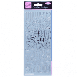 Anita's Outline Stickers – Mixed Numbers – Silver