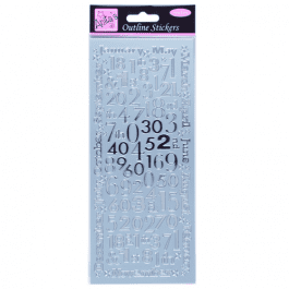 Anita's Outline Stickers – Months And Numbers – Silver