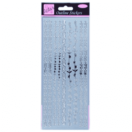 Anita's Outline Stickers – Floral Borders – Silver