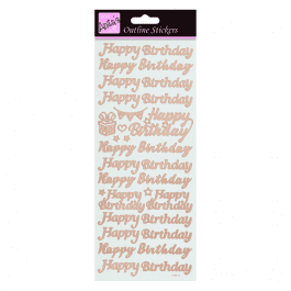 Anita's Outline Stickers – Happy Birthday – Rose Gold on White