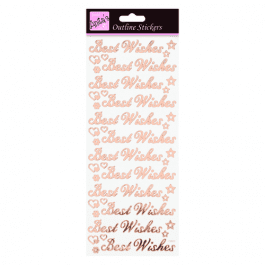 Anita's Outline Stickers – Best Wishes – Rose Gold On White