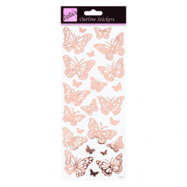 Anita's Outline Stickers – Butterflies – Rose Gold On White