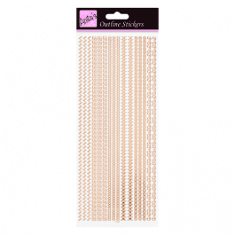Anita's Outline Stickers – Assorted Borders – Rose Gold On White