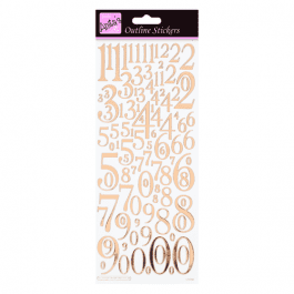 Anita's Outline Stickers – Mixed Numbers – Rose Gold On White