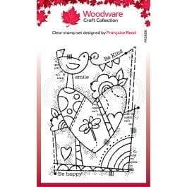 Woodware Clear Stamp 6″ x 4″ Rainbow Heart