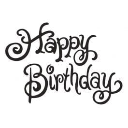 Woodware Just Words 1.5″ x 3″ Stamp – Happy Birthday