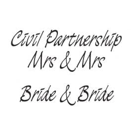 Woodware Just Words 1.5″ x 3″ Stamp – Civil Partnership/Mrs & Mrs