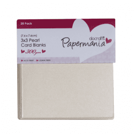 Papermania 3″ x 3″ Cards & Envelopes Pearlised 300gsm White Pk 20
