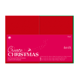 Papermania 4″ x 4″ Cards & Envelopes Textured 240gsm Red & Green Pk 50