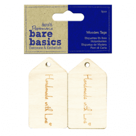 Papermania Bare Basics Wooden Tags – Handmade With Love Pk 12