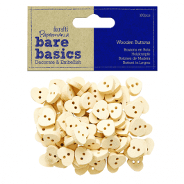 Papermania Bare Basics Wooden Heart Buttons – Pk 100