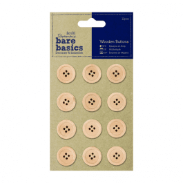 Papermania Bare Basics Wooden Buttons – Natural – Pk 12