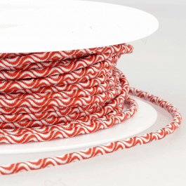 Stephanoise Cord Elastic 3mm White/Red Wave