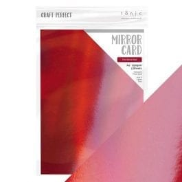 Craft Perfect Iridescent Mirror Card A4 250gsm Fire Stone Red Pk 5