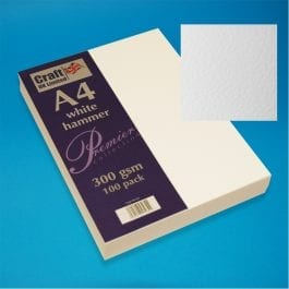 Craft UK Hammered Card A4 300gsm White Pk 100