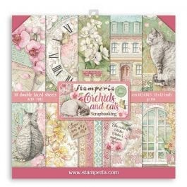 Stamperia Paper Pack 12″ x 12″ 190gsm Orchids & Cats Pk 10