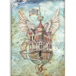 Stamperia Rice Paper A4 Lady Vagabond Flying Ship Pk 1