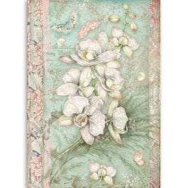 Stamperia Rice Paper A4 White Orchid Pk 1