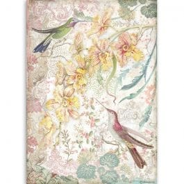 Stamperia Rice Paper A4 Yellow Orchids & Birds Pk 1