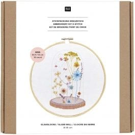 Rico Design Embroidery Kit 20cm Floral Glass Bell
