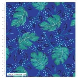 Craft Cotton Company Printed Cotton Birds of Paradise 110cm Jungle Leaves Turquoise