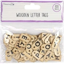 Dovecraft Essentials Wooden Letter Tags Pk 100