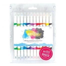 Docrafts Artiste Dual Tip Brush Markers Bright Colours Pk 12