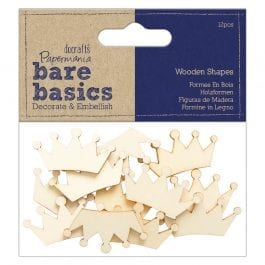 Papermania Bare Basics Wooden Shapes – Crown – Pk 12