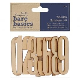 Papermania Bare Basics Wooden Numbers – 1-10 – Pk 10