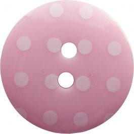 Jomil 2 Hole Button with Polka Dots 13mm Pink