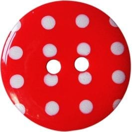 Jomil 2 Hole Button with Polka Dots 13mm Red