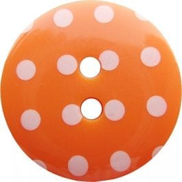 Jomil 2 Hole Button with Polka Dots 13mm Orange