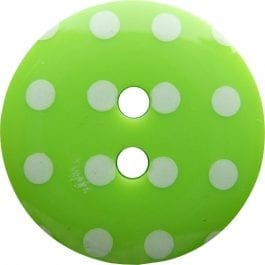 Jomil 2 Hole Button with Polka Dots 13mm Lime