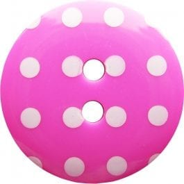 Jomil 2 Hole Button with Polka Dots 18mm Hot Pink