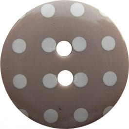Jomil 2 Hole Button with Polka Dots 18mm Mocha
