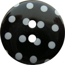 Jomil 2 Hole Button with Polka Dots 18mm Black
