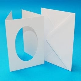 Craft UK 3-Fold Oval Aperture Cards With Envelopes A6 Hammered White Pk 10