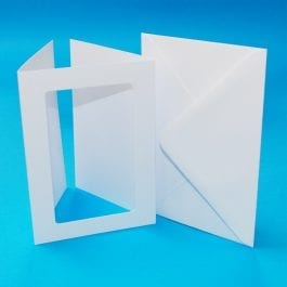 Craft UK 3-Fold Rectangle Aperture Cards With Envelopes A5 Hammered White Pk 10