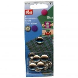Prym Cover Buttons 15mm Metal Pk 6