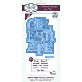 Creative Expressions Sue Wilson Die & Stamp Set Big Bold Words Collection Celebrate